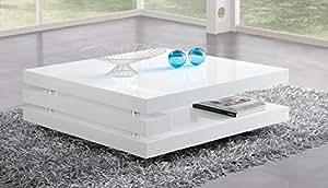 Matelpro-Table basse carrée design laquée blanche Angelie