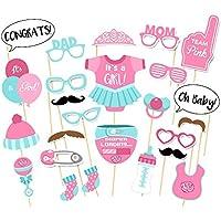 Veewon 25pcs Baby doccia puntelli Biberon maschere Photo Booth Props Newborn ragazza decorazioni per feste