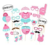 Veewon Babyparty Foto Props Party Babyflasche Masken Photo Stand Props Neugeborene Dame Girl Partydekoration - 25 Stück -