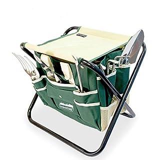 GardenHome Gartenwerkzeug Hocker – Klapphocker inklusive 5-teiligem Edelstahl Werkzeug Set – Gratis Tragetasche zur Aufbewahrung der Gartengeräte - rostfrei und sehr robust – perfekte Geschenkidee für Hobby und Profigärtner