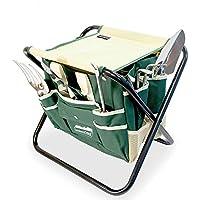 Silla plegable para jardineria con bolsa porta herramientas GardenHOME mas 5 herramientas.
