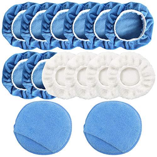 FineGood 14 Stück Auto-Polierpad Applikator Pad, Mikrofaser Polierhaube und Wachspad mit Fingertasche - Blau, Weiß