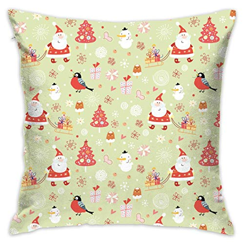 Santa Claus Tree Bird Snowman Christmas Elements Pillowcase - Zippered Pillow Case Cover, Pillow Protector, Best Throw Pillow Cover - Standard Size 18x18 Inch, Double-sided Print Pillowcase Covers