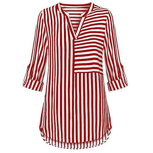 Routinfly Nue 2019 Damen V-Ausschnitt Chiffon Bluse,Frauen Split Cuffed Sleeve gestreiften Blusen Shirt Tops Sommer beiläufige lose Pullover Hemd Tunika -