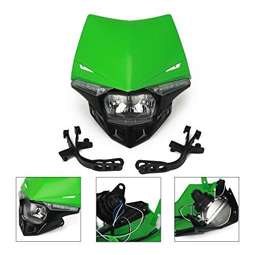 Un Xin verde universale moto fari fari Light carenatura LED indicatori di direzione luci Street Fighter Mask luce diurna Kawasaki KX125KX250KX250F KX450F KLX250motocicletta motocross Enduro