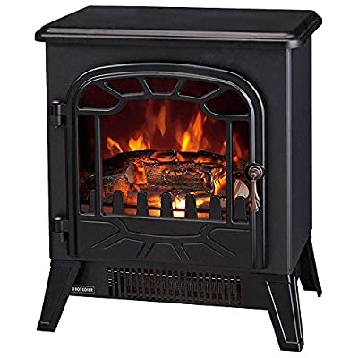 fam famgizmo Electric Fireplace 1850W Freestanding Log Burning Flame Effect Electric Fire Place with Adjustable Thermostat