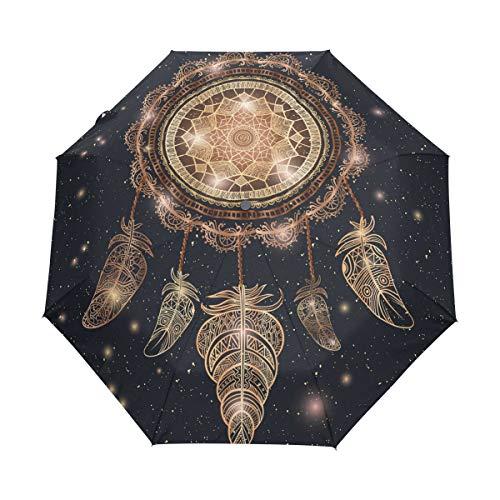 BIGJOKE - Paraguas Plegable de 3 Pliegues con Cierre automático, atrapasueños, Plumas Bohemias Tribales, Resistente al Viento, para Viajes, Ligero, Paraguas de Lluvia, Compacto para niños y niñas