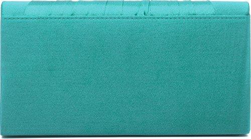 VINCENT PEREZ, pochette, sac en bandoulière, pochette en satin avec drapé très mode et ornements strass chics avec chaîne retirable (120 cm), 22 x 10,5 x 4 cm Emeraude