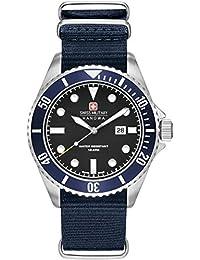 Reloj Cuarzo Swiss Military Para Hombre Con  Negro Analogico Y Azul Nailon 6-4279.04.007.03