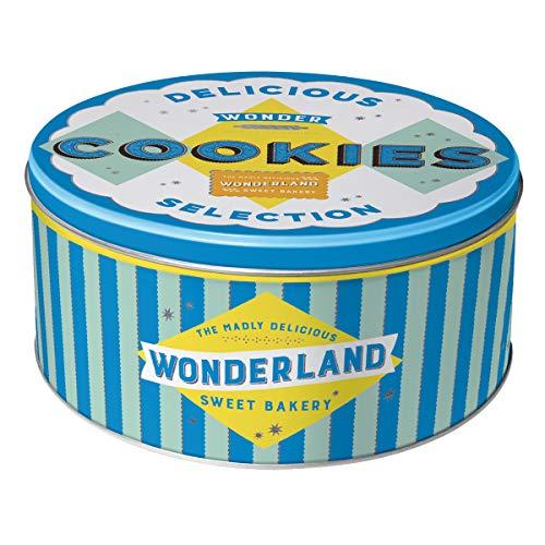 Nostalgic-Art 30605 Home & Country - Wonder Cookies Blue | Retro Vorratsdose Rund L | Keks-Dose | Plätzchen-Box | Metall