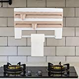 Wandrollenhalter, Küchenrollenspender für 3 Rollen, Folienschneider für glatte Schnittkanten, Papierrollenhalter für griffbereite Folien, für Papiertücher bis 28 cm(Khaki)