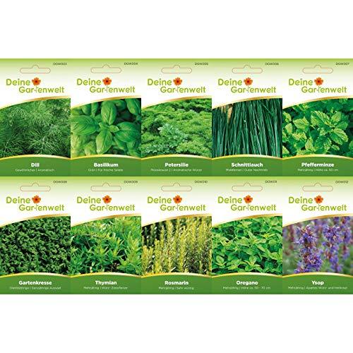 Kräutersortiment 10 Sorten Samen - Kräutersamen-Sortiment - Küchenkräuter und Gartenkräuter