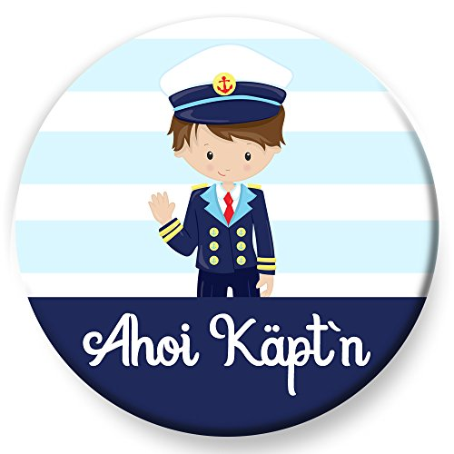 Kostüm Segeln Piraten Meer - Polarkind Button Pin maritimer Anstecker AHOI Käptn 38mm Handmade