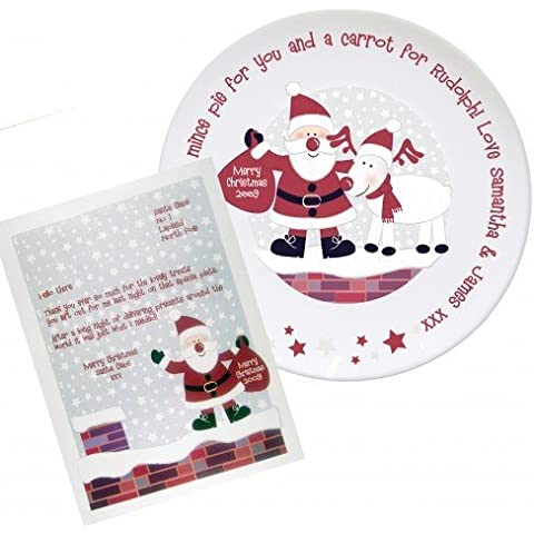 Azotea Santa Mince Pie Placa de Placa, personalizable, recuerdo, Navidad, Santa,