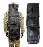 Airsson Tactical Rifle Gun Case Cover Weich Double Gewehr Bag Rucksack Aufbewahrung Magazintasche mit Schulterriemen Nylon Wasserdicht (Schwarz, 100 cm / 40 Zoll)
