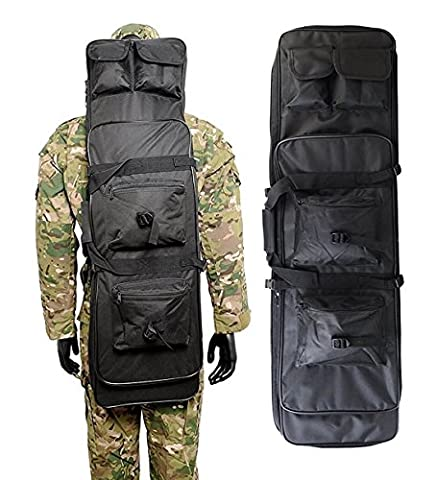 Airsson Tactical Rifle Gun Case Cover Weich Double Gewehr Bag Rucksack Aufbewahrung Magazintasche mit Schulterriemen Nylon Wasserdicht (Schwarz, 100 cm / 40
