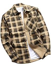 Rabbiter Camisa de Manga Larga con Estampado a Cuadros para Hombre, Blusa Holgada de Manga Larga para Hombre Blusa Tops