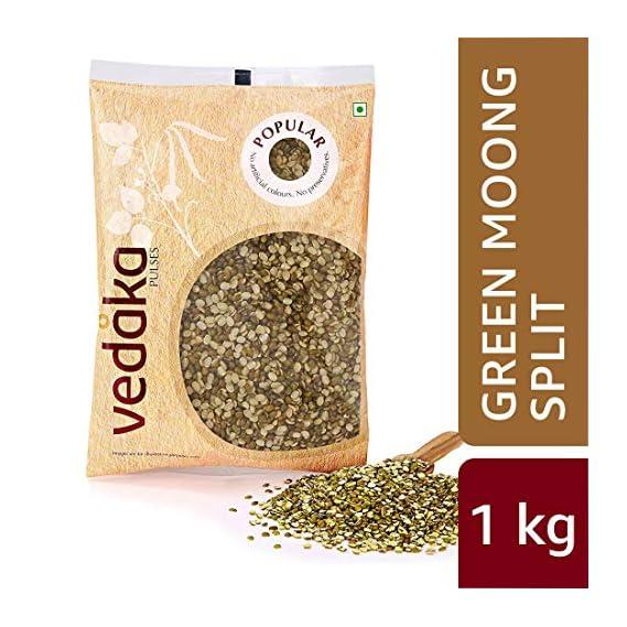Amazon Brand - Vedaka Popular Green Moong Split/Chilka, 1 kg