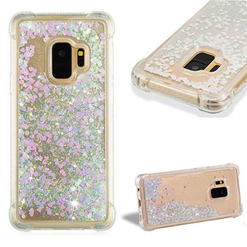 Kristall Transparent Hülle für Samsung Galaxy S9,CESTOR Luxus Liebe Herz Flüssig Treibsand Ultra Dünn Weich Silikon TPU Durchsichtig Dauerhaft Schutzhülle für Samsung Galaxy S9,Rose