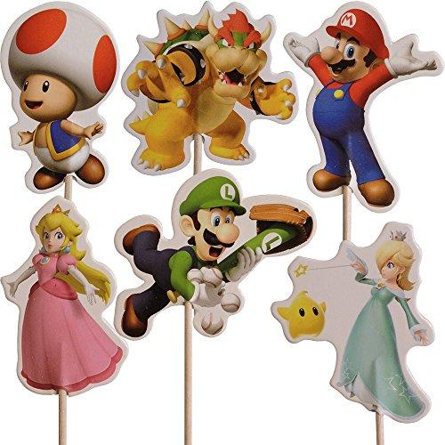 Unbekannt Super Mario-Kuchen-Toppers (Packung mit 24)