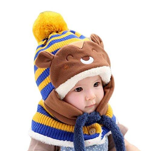 Koly Lindo de invierno bebés de los muchachos Calentar gorros de lana Cofia de la capilla de la bufanda (Rosa) (amarillo)