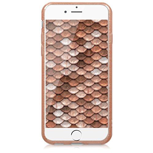 kwmobile ÉTUI EN TPU silicone pour Apple iPhone 6 / 6S Design aluminium brossé anthracite transparent. Étui design très stylé en TPU souple de qualité supérieure aluminium brossé or rose transparent
