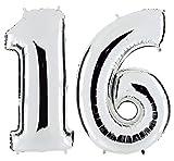PartyMarty Ballon Zahl 16 in Silber - XXL Riesenzahl 100cm - zum 16. Geburtstag - Party Geschenk Dekoration Folienballon Luftballon Happy Birthday