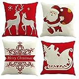 Gspirit Natale Babbo Alce 4 Pack Cuscini per divani Decorativo Cotone Biancheria Cuscino copricuscini Divano Caso Federa per Cuscino 45x45 cm