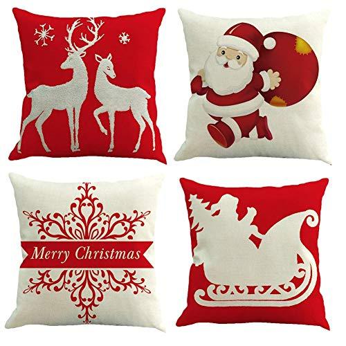 Gspirit 4 Pack Navidad Santa Claus Elk Algodón Lino Throw Pillow Case...