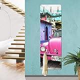 Bilderwelten Wandgarderobe - Pink VW Beetle - Garderobe Auto Design Garderobe Garderobenpaneel Kleiderhaken Flurgarderobe Hakenleiste Holz Standgarderobe Hängegarderobe, Größe HxB: 139cm x 46cm