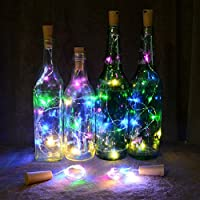 Bluelans® Pack of 4 Led Bottle Cork Lights, 59in/1.5m Copper Wire String Lights with 15 Colourful Led Bulbs for Bottle DIY Decor, Outdoor BBQ, Gathering, Party, Wedding, Holiday