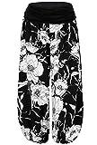 BAISHENGGT Damen Pumphose Haremshose Blumenmuster Lange Hose Schwarz-Blumen XL