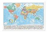 Weltkarte mit Flaggen und Fakten Poster Magnettafel weiß gerahmt, 96,5x 66cm (ca. 96,5x 66cm)