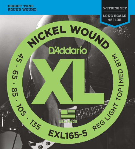 DADDARIO EXL165 5 XL NICKEL WOUND REGULAR LIGHT TOP/MEDIUM BOTTOM   CUERDAS PARA BAJO ELECTRICO ( 045  135) PACK DE 5