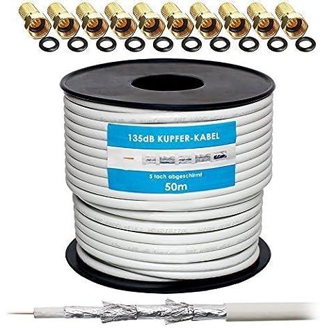 135dB 50m Koaxial SAT Kabel Reines KU Kupfer Koax Kabel Antennenkabel 5-fach geschirmt für DVB-S / S2 DVB-C und DVB-T BK Anlagen + 10 vergoldete F-Stecker mit Gummiring SET Gratis dazu von HB