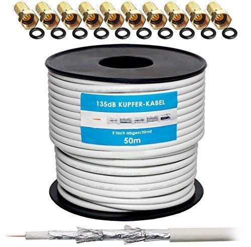 135dB 50m Koaxial SAT Kabel Reines KU Kupfer Koax Kabel Antennenkabel 5-fach geschirmt für DVB-S / S2 DVB-C und DVB-T BK Anlagen + 10 vergoldete F-Stecker mit Gummiring SET Gratis dazu von HB Digital