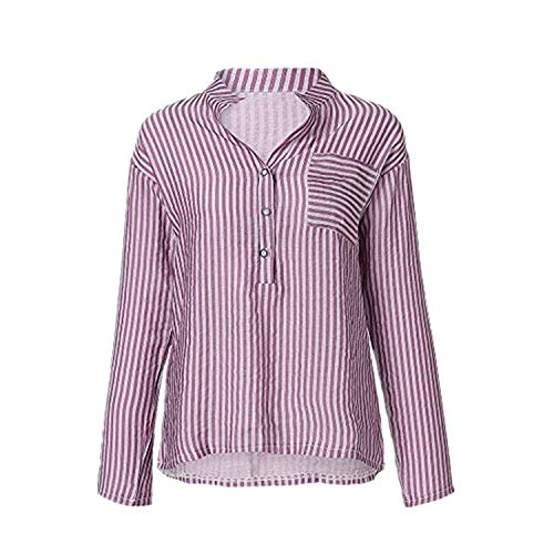Langarmshirt Damen Bluse FGHYH Frauen-beiläufige Lange Hülsen-V-Ansatz knöpfen Oben gestreifte Hemd-Blusen-Oberseiten mit Tasche(M, Lila) -