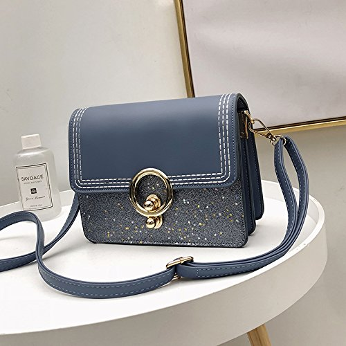 GUANGMING77 Messenger Bag _ Semplice Piccola Donna Messenger,Marrone blue