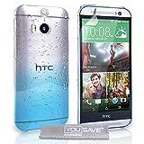 Yousave Accessories Die Neu HTC One M8 (2014) Hülle Blau / Klare Regentropfen Hart Schutzhülle