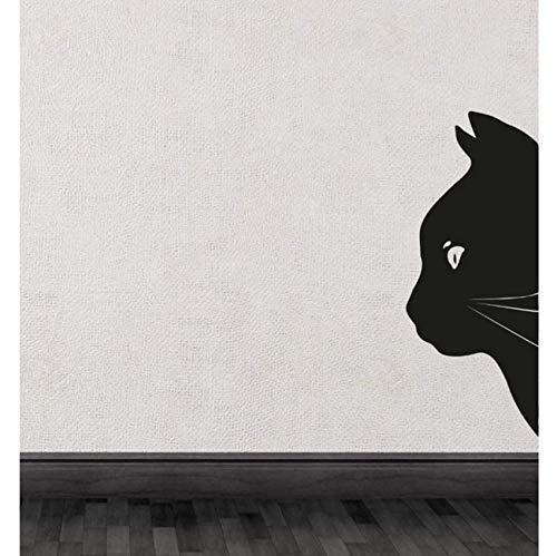 Yssyss Black Cat Head Half Silhouette Cute Special Wall Decals Art Unique Decor 57 * 24Cm