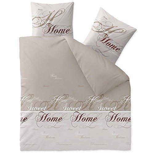 CelinaTex Touchme Sarah Biber Bettwäsche 200 x 220 cm 3-teilig beige hell grau Flauschiger Bettbezug Sweet Home Schriftzug 5001311