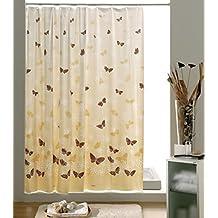 Gedy Butterfly Cortina, PVC, Beige y Marrón, 0.03x240x200 cm