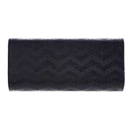 Damara® Wellenartig Großzügig Damen Abendtasche Zum Umhängen Schwarz