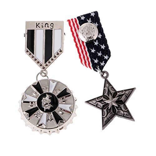 IPOTCH 2 Piezas Medallón De Medalla De Uniforme Militar Broche Pin Cinta King Broche De Estrella Gótico