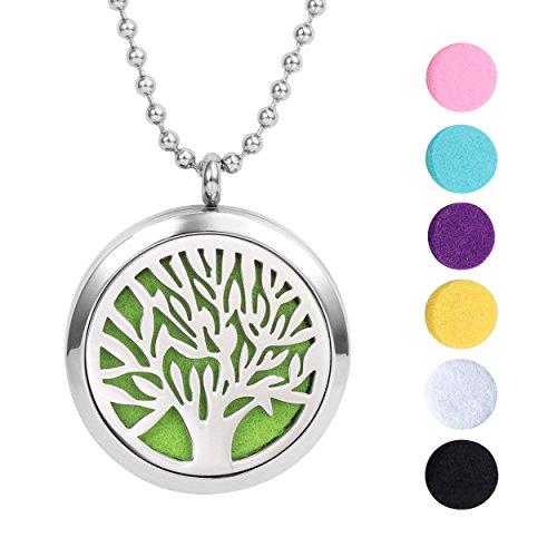 Meilanty Lebensbaum Anhänger Kette, Damen Halskette 60cm Tree of Life Diffusor Aromatherapie mit 7 Pads WZ-E01