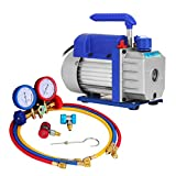 MosaicAL 1.8CFM 1/4HP Refrigerant Vacuum Pump Kit HVAC Single Stage Vacuum Pump with Manifold Gauges Air Conditioning 50 l/ Min 1440RPM for All Refrigerants R12 R134a R22 R410a R404 R502 (1.8CFM 1/4HP)