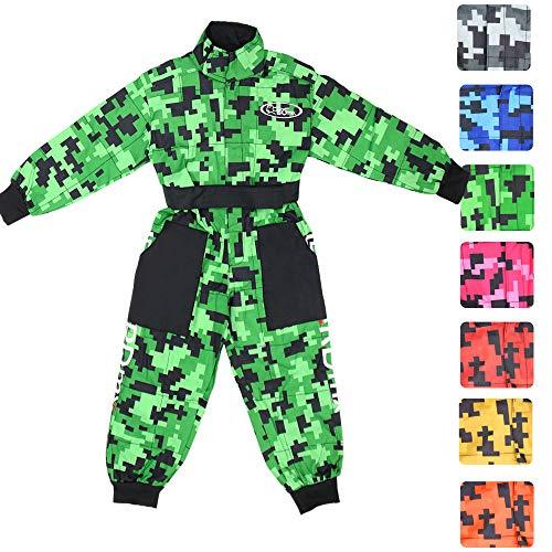 Leopard Tuta da Motocross per Bambini Proteggere Abbigliamento Giacca da Moto ATV Quadrilatero, Verde, XXL (12-13 Anni)