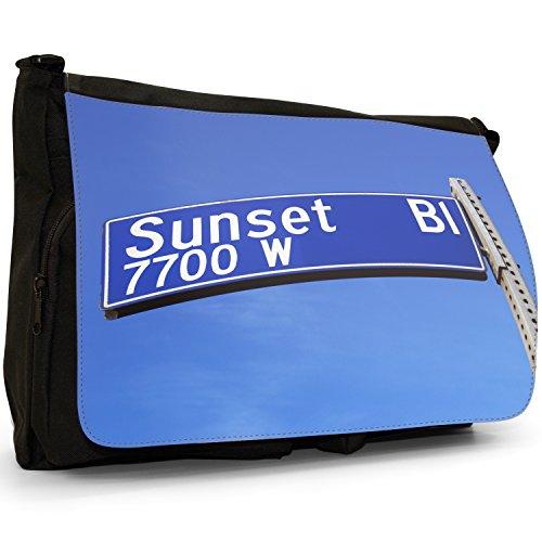 Fancy A Bag Borsa Messenger nero Golden Gate Bridge San Francisco Sunset Boulevard Road Sign Hollywood California