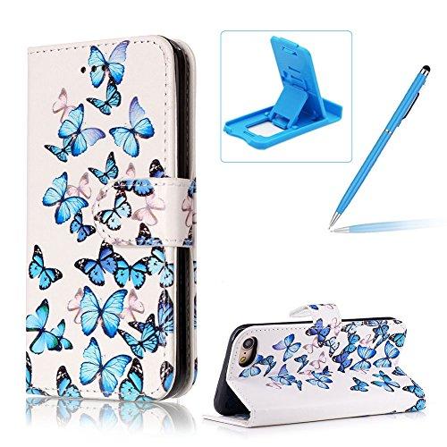 iPhone 7 4.7 Zoll Hülle Ledertasche Schutztasche Case,iPhone 7 4.7 Zoll Bookstyle Magnet PU Leder Handytasche Hülle,Herzzer Mode Prämie [Bunte Grafik Muster] Weich Innere Mit Standfunktion Kartenfach  Blauer Schmetterling