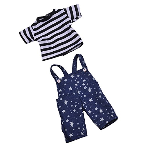 Sharplace Puppe gestreiftes T-Shirt mit Stern gedruckt Hosenträger Hose, Puppenkleidung Set Für 18 Zoll American Girl Puppen (Baby-puppe T-shirt Prinzessin)